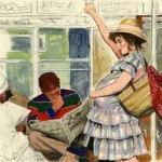 Иллюстрация призвана научить детей уступать место в транспорте беременным женщинам