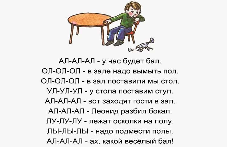 Упражнения на произношения буквы Л