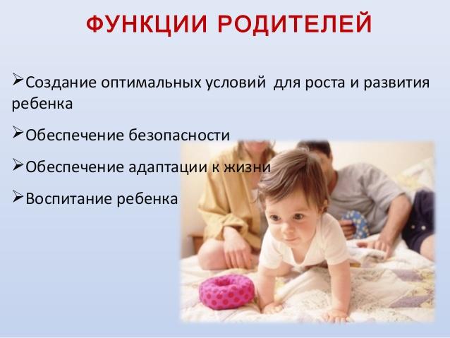 Функции родителей относительно детей
