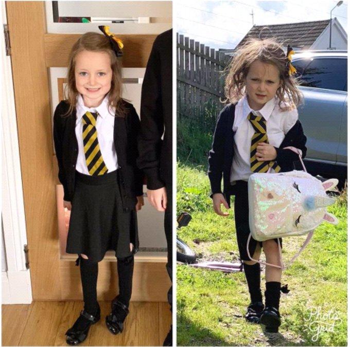 Первый день Люси в школе — фото «до» и «после»