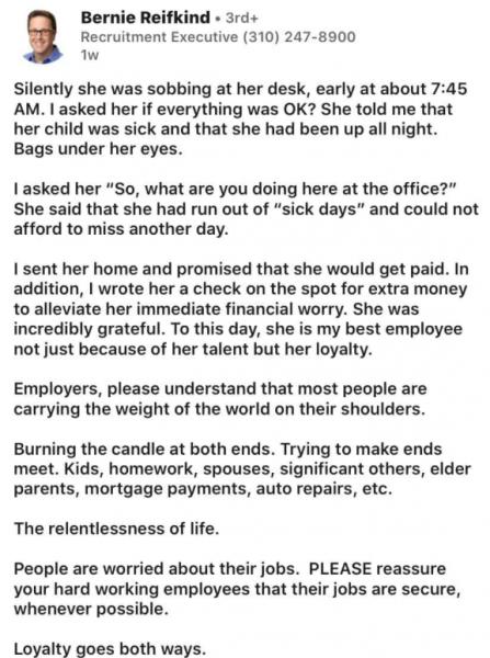Призыв босса помогать работающим родителям сделал его любимцем Сети