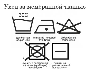 Этикетка для стирки мембранных детских комбинезонов