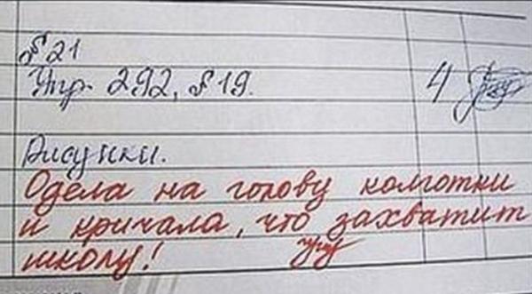 Запись в дневнике