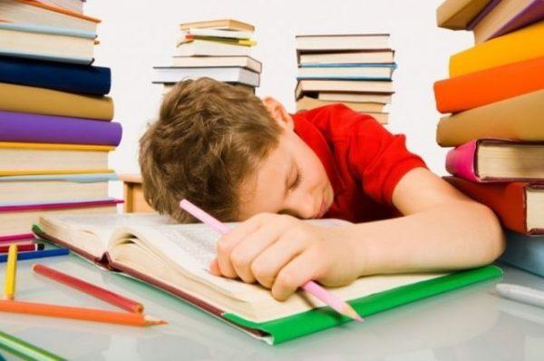 Мальчик уснул за уроками