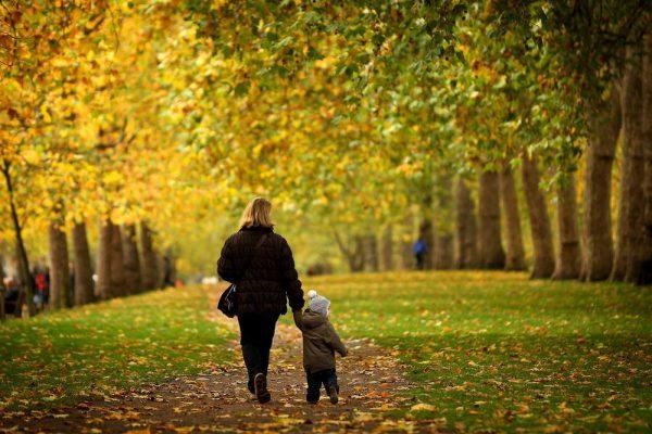 Мама гуляет с малышом в парке