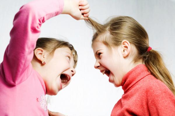 Девочка дергает за волосы другую девочку