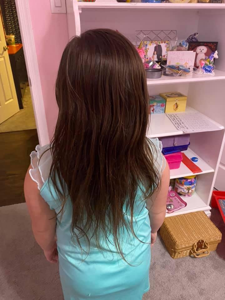Волосы Эбигейл через сутки