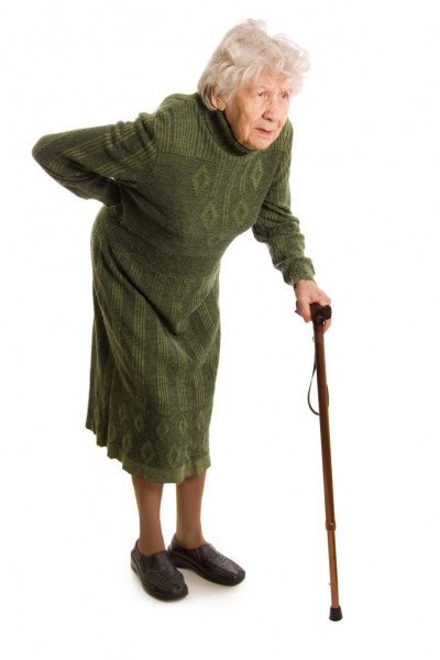 Бабушка с палочкой
