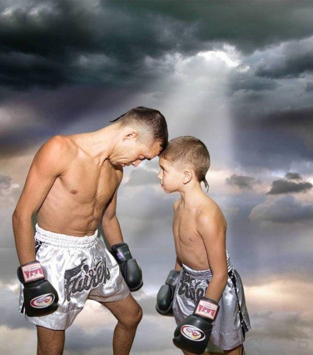 папа и сын боксеры