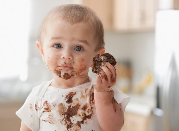 Baby in chocolate