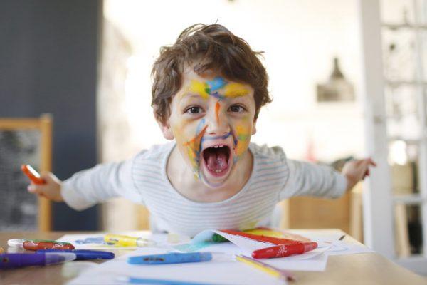 Boy in paint