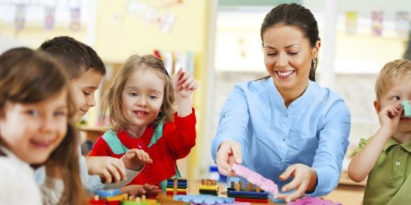 Educator and children