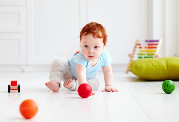 one year old rubber ball