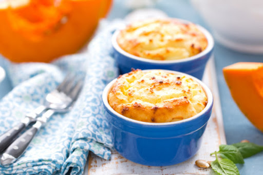 Oven cottage cheese soufflé with orange