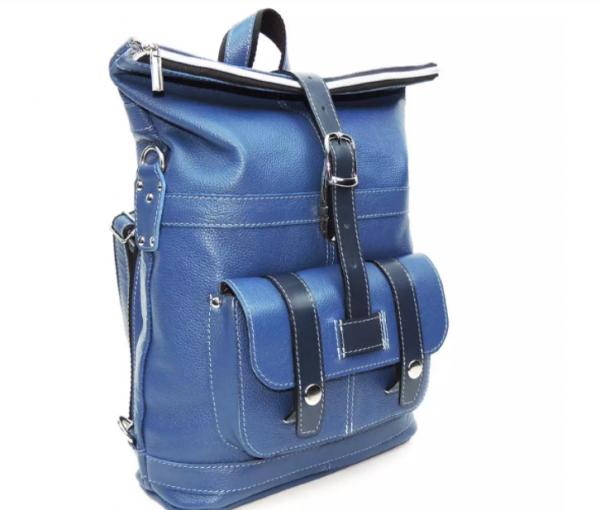 Голубая кожаная сумка-рюкзак Natalia Kalinovskaya «Сан-Тропе»