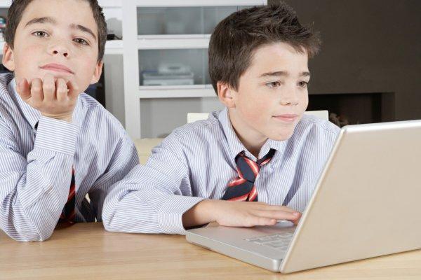 Братья сидят за ноутбуком