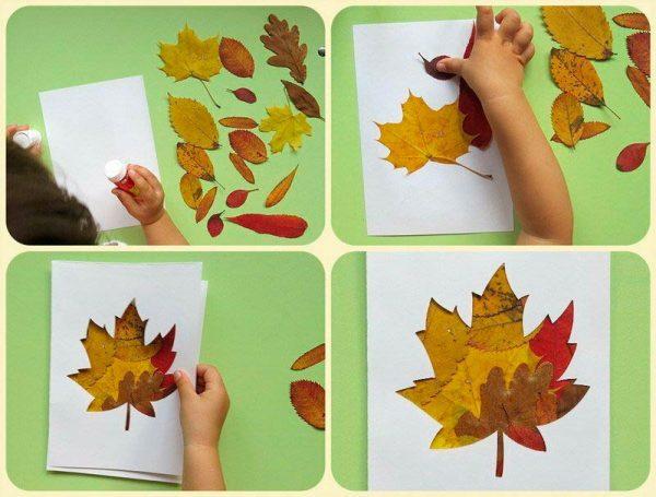 Открытки из осенних листьев