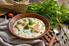 Milk soup with vegetables