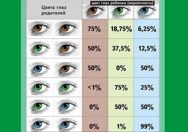 Таблица вероятности наследования ребенком определенного цвета глаз