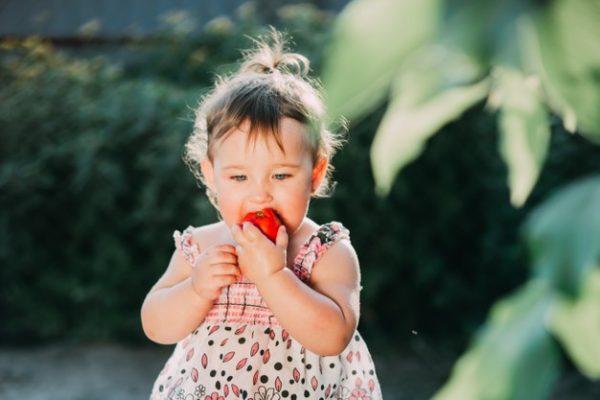 Ребенок ест помидор. Фото freepik.com
