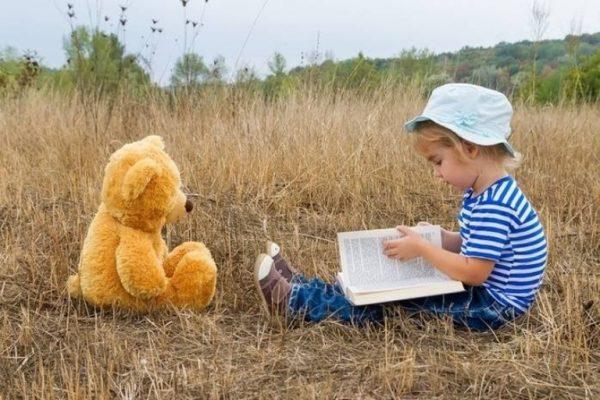 Ребенок, поле, игрушка