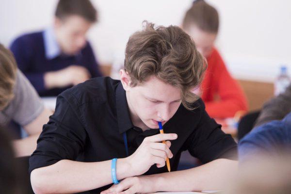 Мальчик пишет сочинение